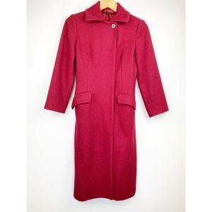 SISLEY Wool Blend Red Long Coat  6